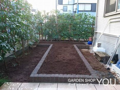 レンガで作った菜園。