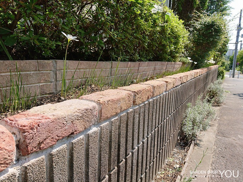 既存ブロックに一段レンガを積んで花壇の土留に。